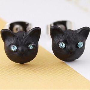 5/$25 Black Cat Earrings Blue Rhinestone Eyes